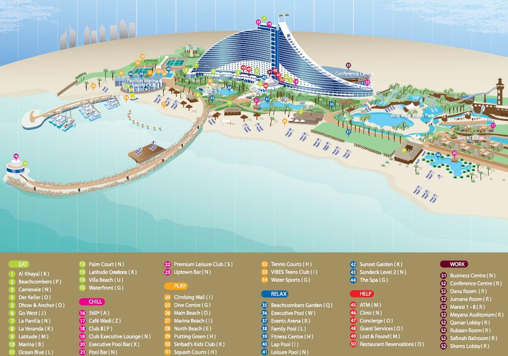 Jumeirah beach hotel 5 5 for Map of dubai hotels